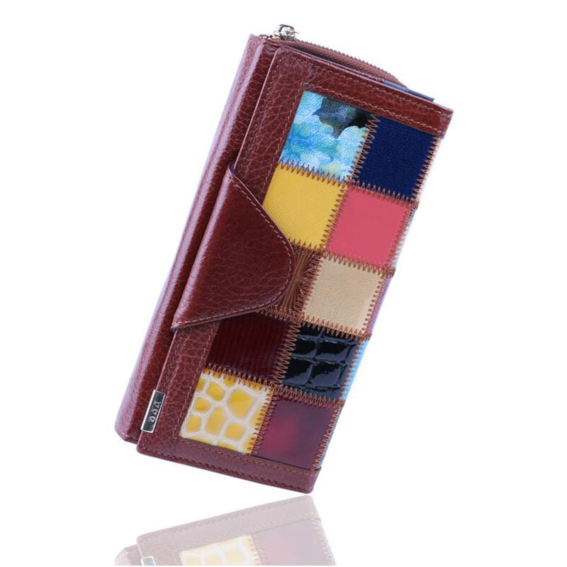 100% Genuine Leather Wallets Women Long Type Patchwork Cow Leather Cell Phone Clutch Purse 2016 Kisslock Hasp Coin Pocket Bag
