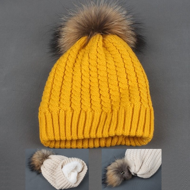 LVYI012 Women Winter Thick Warm Cable Twist Plush Knitted Skullies Hats  Fluffy Real Fur Removable Pom poms Knit Beanies Gorras a597ea9f44ed