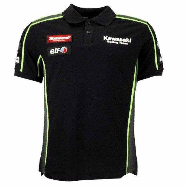 77b173e8f Kawasaki MOTOGP Racing POLO T-shirt Black/Green Motorcycle Riding Team Polo  Shirt Men's Cotton Casual Golf shirt Free Shipping