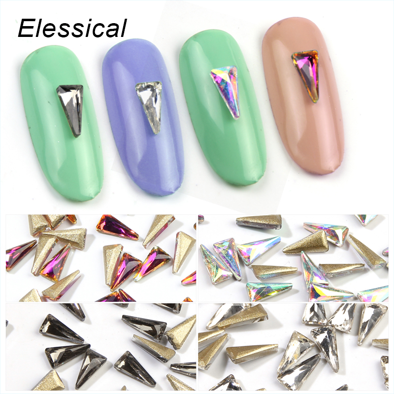 ELESSICAL 4 Colors Glass Crystal Long Triangle Rhinestones Nail Charms Stickers For Manicure 3D Nail Art Decorations WY699-WY702 wakefulness ab color glass rhinestones crystal mix caviar nail art mini beads sharp bottom gemstones charms 3d nail decorations