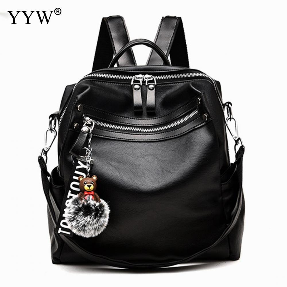 PU Leather Motorcycle Bags For Women 2018 Black Casual Backpack Women Large Capacity Back Pack Shoulder Bag Female Travel Bags