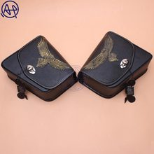 For Honda Yamaha Suzuki Harley Sportster XL 883 Black PU Leather Saddle Bag Motorcycle Luggage Eagle Left+Right Side Saddle Bag bjmoto brown motorcycle pu leather left right side saddlebag saddle bag luggage bag tool bags storage for harley sportster
