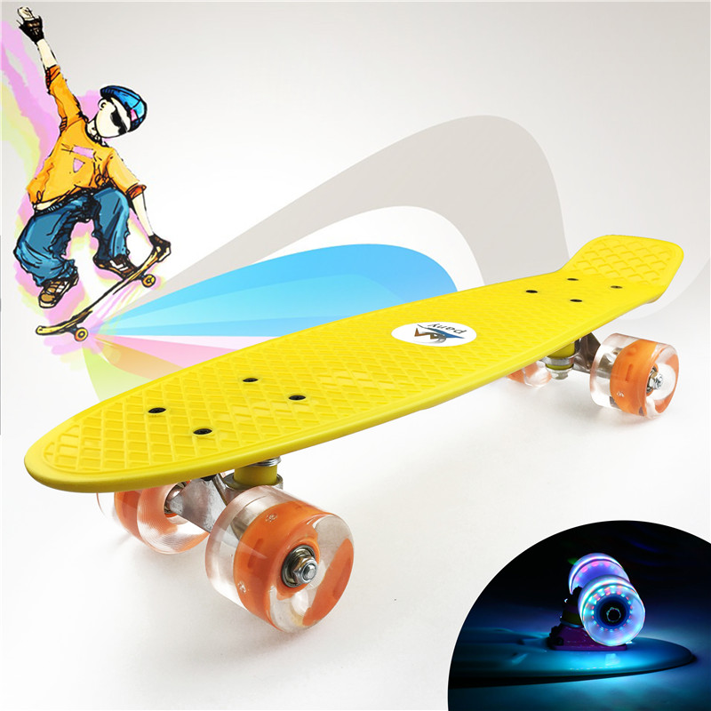"Image 5 - Pastel Simple Color 22"" Style Skateboard Child Cruiser Mini Plastic Fish Skate Long Board With Shining Wheels-in Skate Board from Sports & Entertainment"