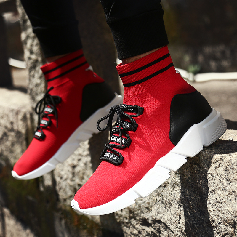 High Top Couples Running Shoes Black Red Sneakers China Lightweight Fitness Male Sneakers Breathable Walking Shoes Women Fitness & Body Building