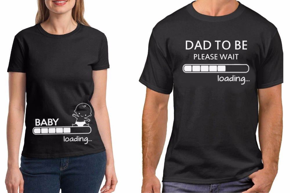 4434262e Pregnancy Funny Couple T-Shirts Baby Loading Dad To Be Maternity Baby  Shower Couple Hiphop Men Women O Neck Funny Casual Shirts