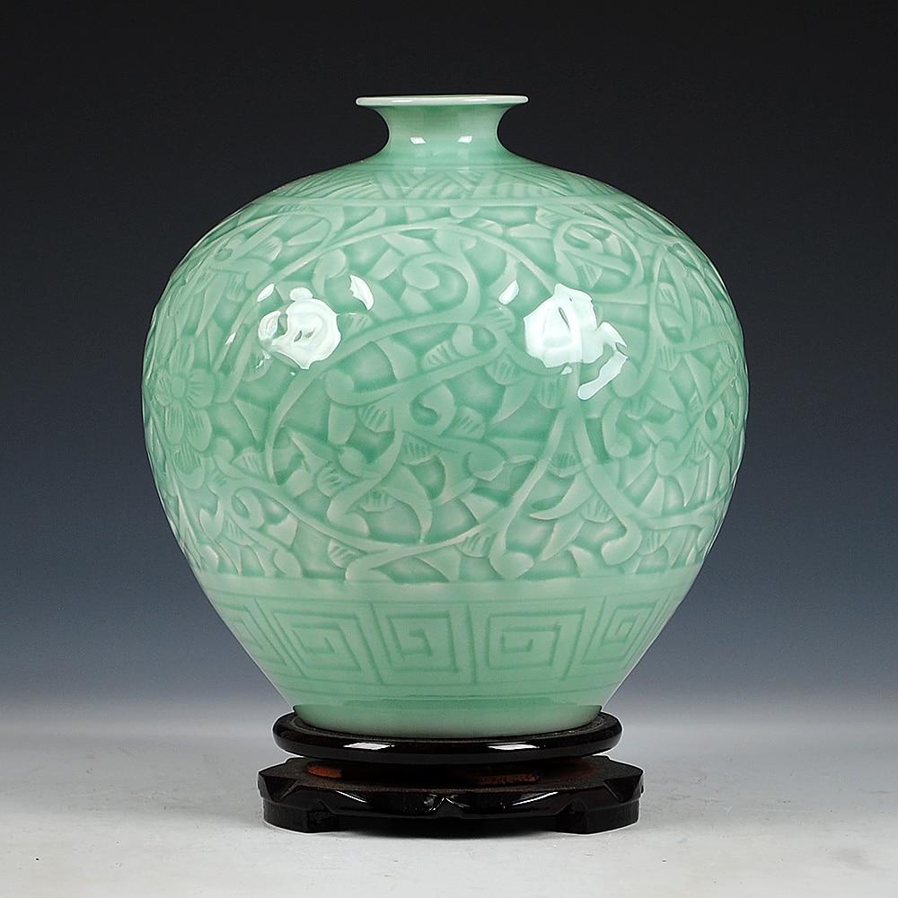 Antique Jingdezhen Chinese Ceramic Green Engraving Jade Vase Wedding DecorationWhite Porcelain Vase Flower Vase Gift vase
