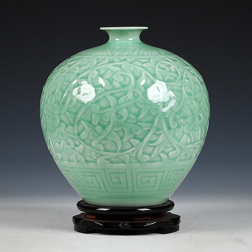 Ev ve Bahçe'ten Vazolar'de Antika Jingdezhen Çin Seramik Yeşil Oyma Yeşim Vazo Düğün DecorationWhite Porselen Vazo Çiçek Vazo Hediye'da  Grup 1