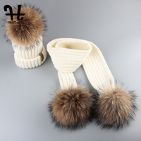 Furtalk Kids Ages 2 14 Hat and Scarf Set Warm Chunky Thick Stretchy Knit Beanie Pom Pom Hat