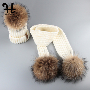 Image 4 - Furtalk Kids Beanie Hat and Scarf Set Girl Boy pompom Hat Scarf Child Thick Warm Winter Knit Hats with Raccoon Fur Ball Age 2 14