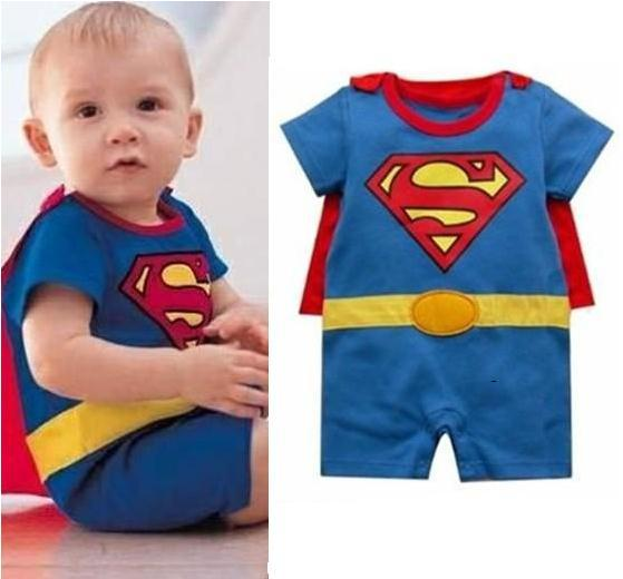 Free Ship Short Sleeve Baby Boy Girl Superman Batman Romper with Dress Smock Animal Jumpsuits Infant