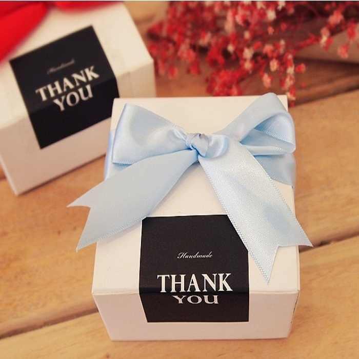 Festival Supplies 9 Buah/Set Sealing Stiker untuk Permen Kue Kotak Tas Coklat Kertas Hadiah Paket Pesta DIY Terima Kasih hitam