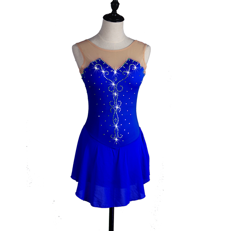 Sexy Figure Skating Dress Womens Girls Skating Dress Aquamarine Rhinestone High Elasticity Performance Skating Wear Handmade