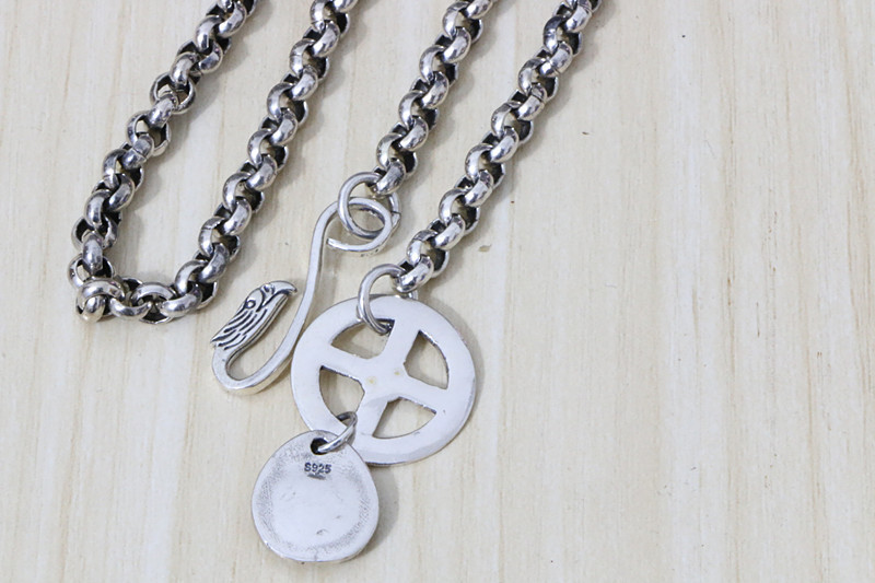 S925 Sterling Silver Takahashi Goro Roulette With Chain Hook O-chain Rough Long Sweater Necklace Retro Thai Silver Men And Women