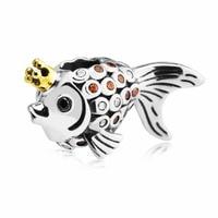 Crown goldfisch Charme Gold Farbe Krone Fisch Lose Perle Original-Sterling silber Schmuck Fit Europäisches Armband Für Frau