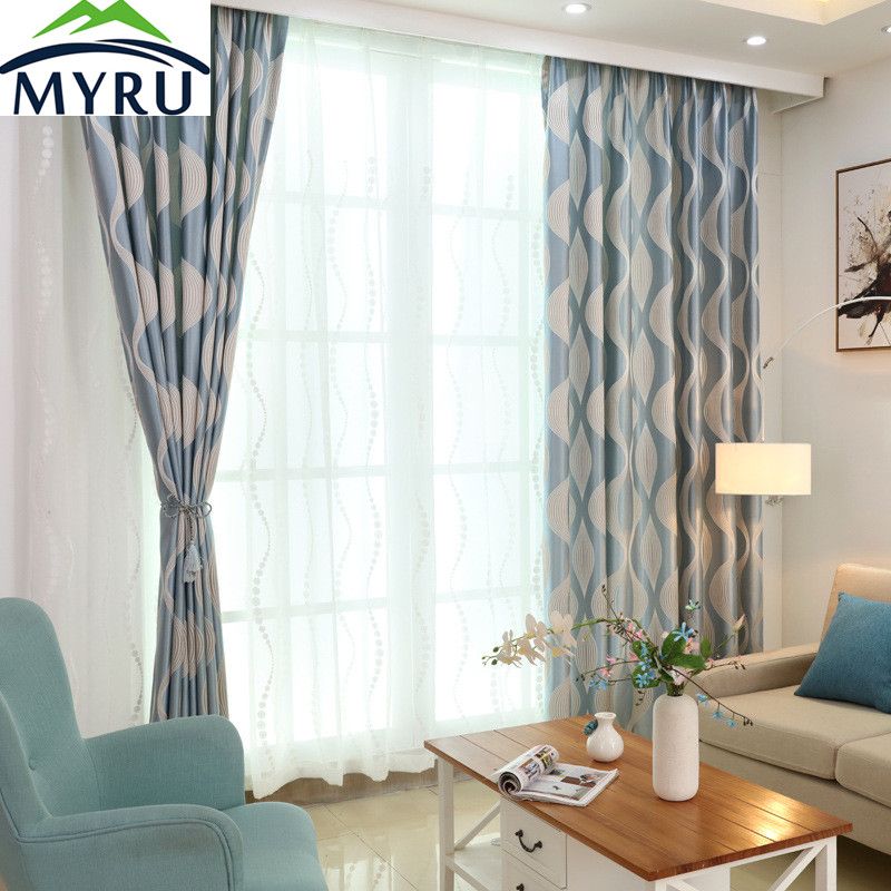 Myru European Style Modern Simple Striped Wave Jacquard Curtains Blue Stirped Window Curtains