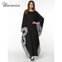 Casual Maxi Dress Muslim Abaya Bat Sleeve Long Robe Gowns Loose Style Plaid Trim Turkey Middle East Moroccan Islamic Clothing