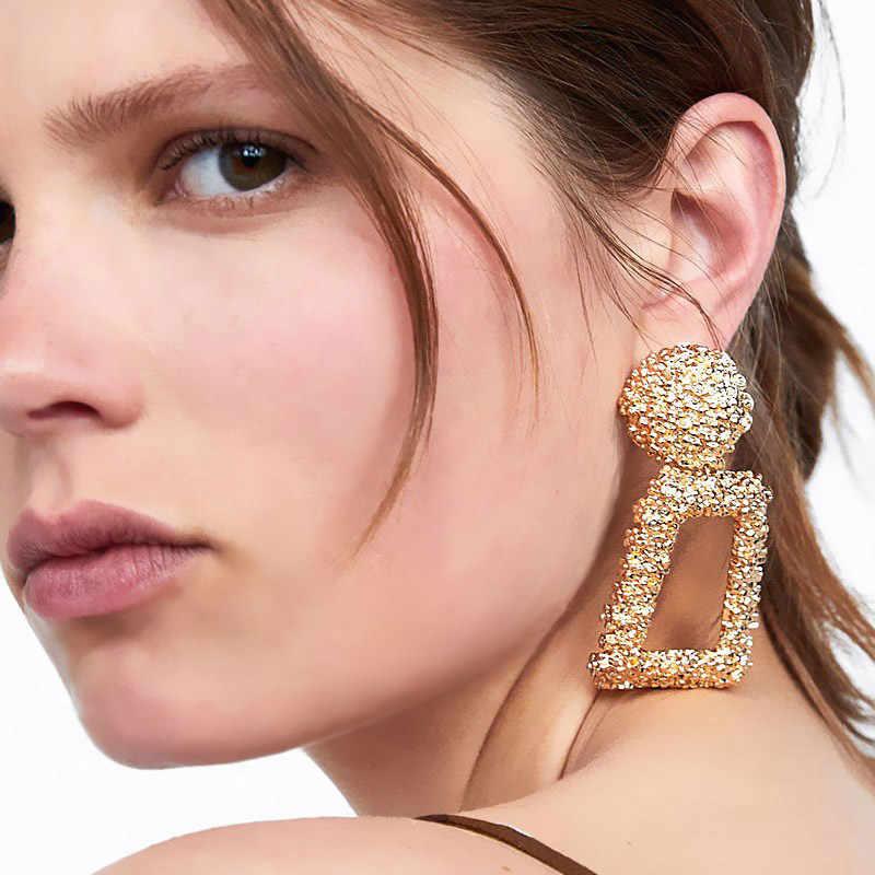 USTAR Big Drop Earrings for Women Geometric Statement Earrings female 2018 Fashion Modern Jewelry hanging kolczyki oorbellen