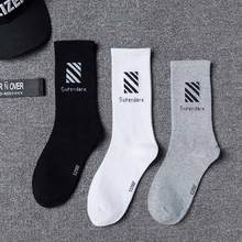 1 Pairs Cotton Men Socks Casual Cool Hip Hop Harajuku Skateboard Street Style Black White Socks Presents For Men Fashions S17007