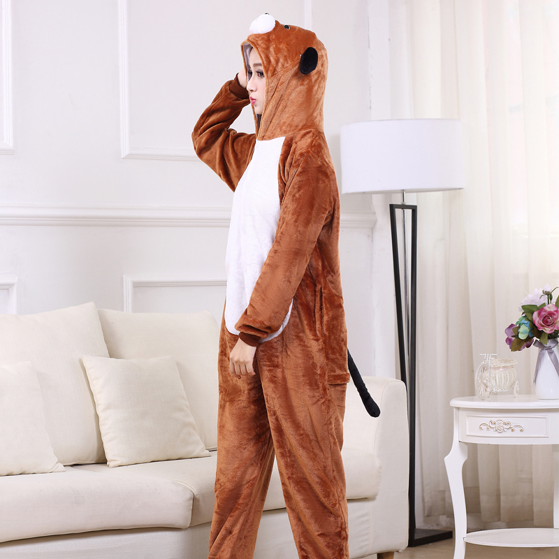 Cute Brown Dog Onesie Flannel One-Piece Pajamas Kigurumi Animal  Doggie Sleepwear Women And Men For Halloween Cosplay Party (6)