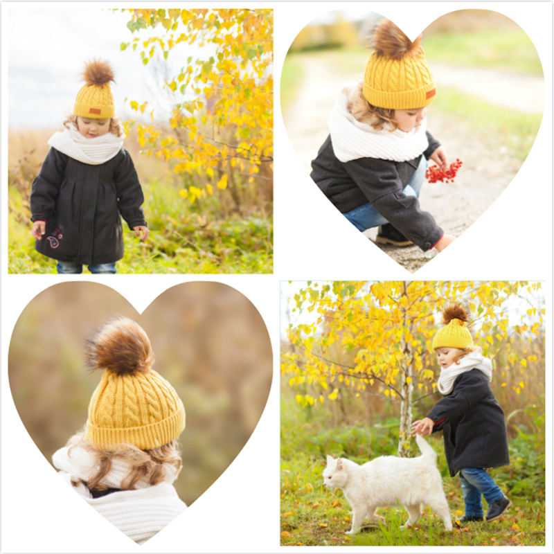 09a7f65b5 מוצר - MOLIXINYU 2018 Pom Children Winter Hat For Girls Hat Knitted ...