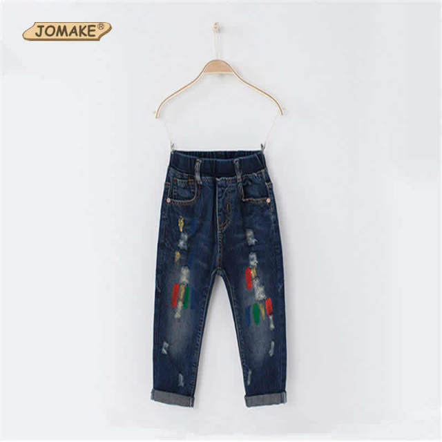Lovely Multicolor Print Children Jeans For Boys And Girls 2017 Spring And Autumn Fashion Brand Distrressed Denim Pants Trousers