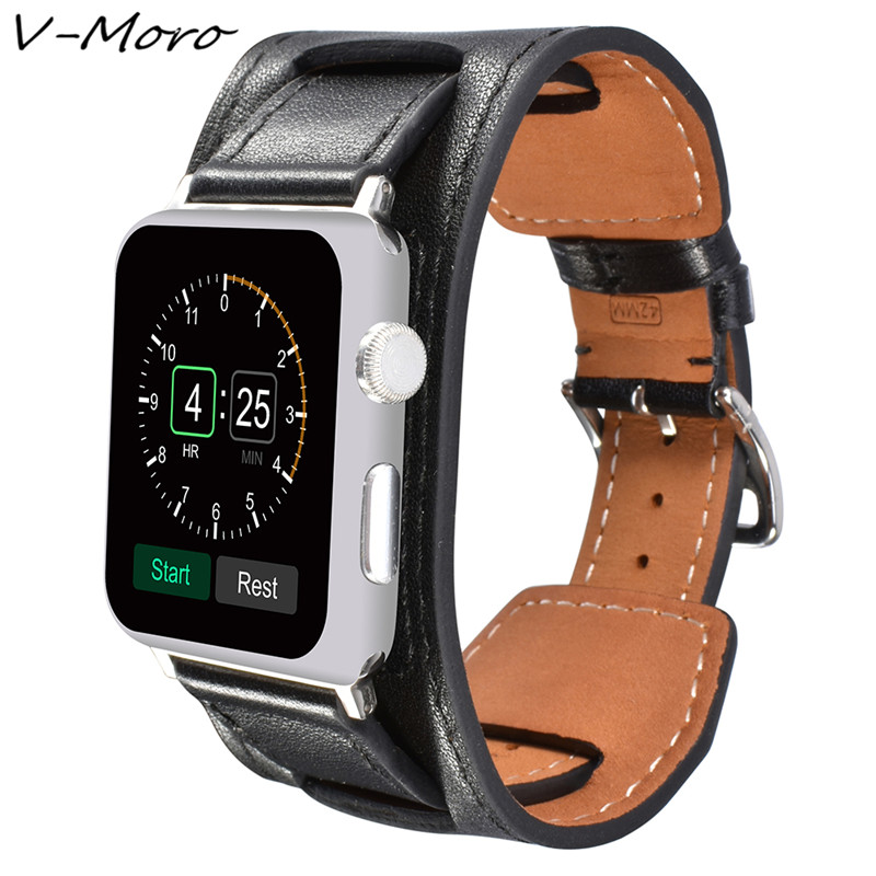 For Apple Watch Series 3,2,1 Band V-MORO Genuine Leather For Apple Watch 38mm 42mm Watchband Cuff Bracelet Strap For iWatch Band kakapi crocodile skin genuine leather watchband with connector for apple watch 38mm series 2 series 1 pink