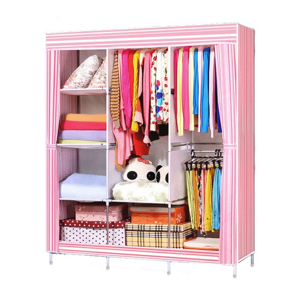 Homdox Portable Bedroom Wardrobe Closet Storage Organizer Clothes Rack  Shelves Striped Pattern Modern Furniture #30 24
