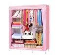 Large Capacity Portable Bedroom Wardrobe Closet Storage Organizer Clothes Rack Shelves Striped Pattern Modern Furniture