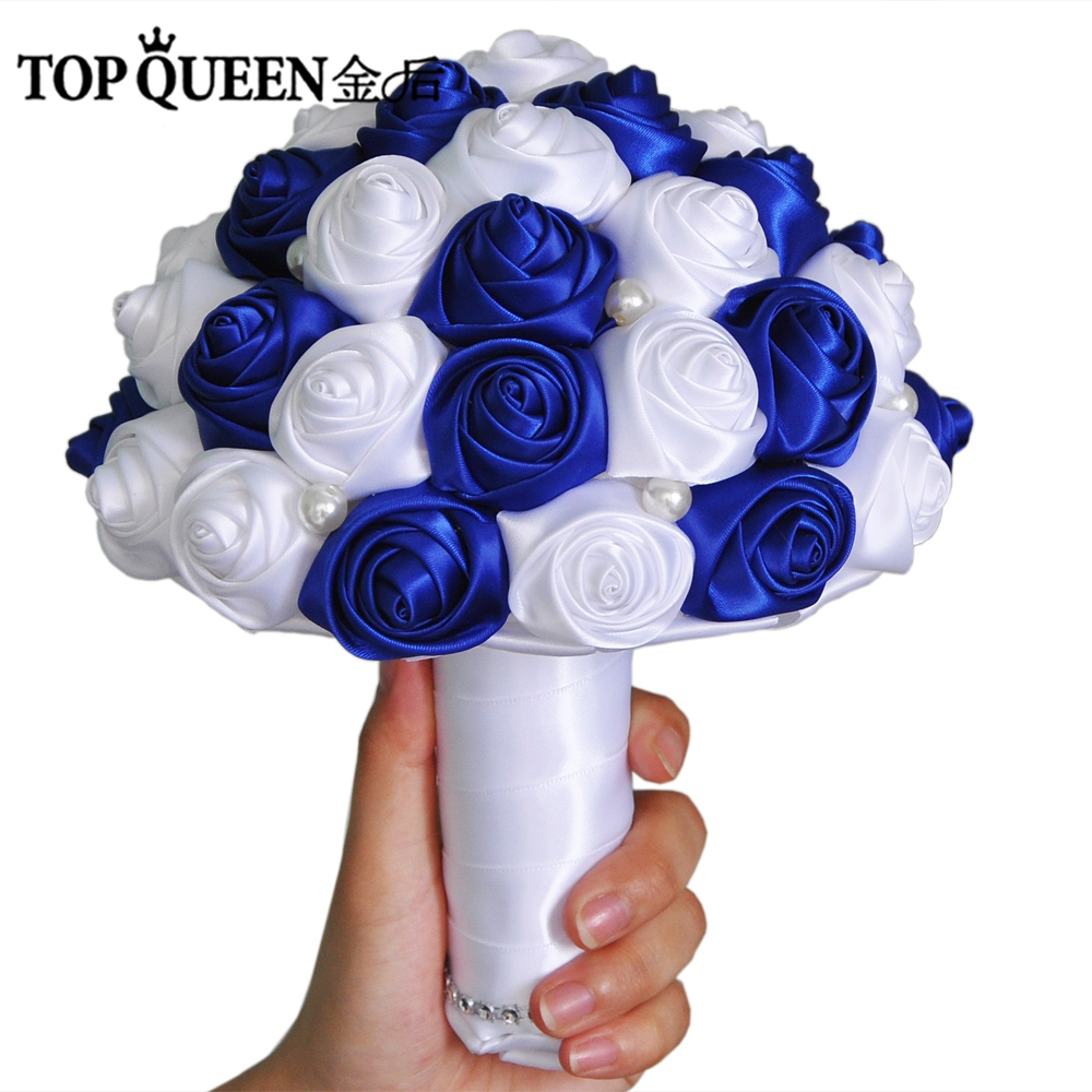 TOPQUEEN F4-RBL In Stock Stunning Wedding Flowers Bridesmaid Bridal Bouquets Artificial royal blue Rose Wedding Bouquet
