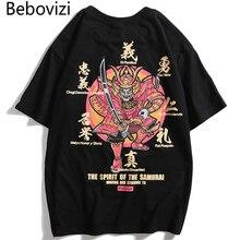 Bebovizi 2019 Men Japanese Style Oversize Tshirts Streetwear Samurai Print Short Sleeve T Shirts Hip Hop Tops Tees