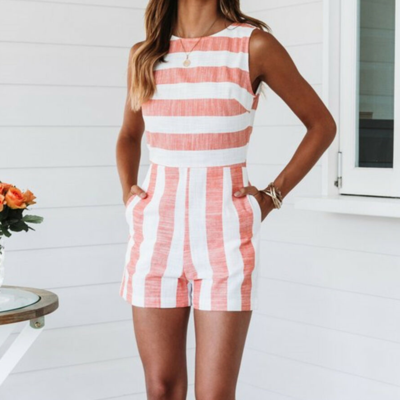 New Women Holiday Mini Playsuit   Jumpsuit   Shorts Crew Neck Sleeveless Striped Romper Fashion Summer Beach Casual Playsuits