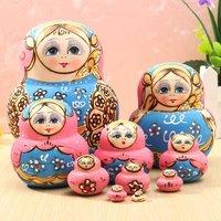 10ピース/セット青人形木製ロシアの入れ子バブーシュカマトリョーシカ人形セットおもちゃ用diyハンド塗装ギフト用子供大