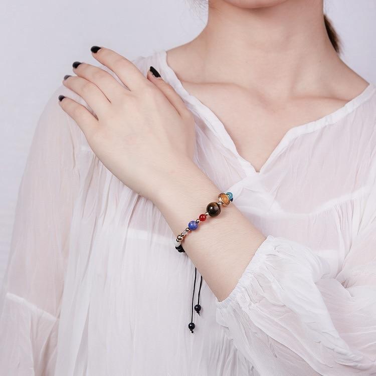 Universe Planets Beads Bangles & Bracelets Fashion Jewelry Natural Solar System Energy Bracelet For Women or Men 2019