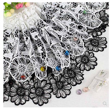 Wide 30CM Water Soluble Lace Trim Top Knitting Wedding Embroidered Diy Handmade Patchwork Ribbon Sewing On Supplies Crafts Decor недорго, оригинальная цена