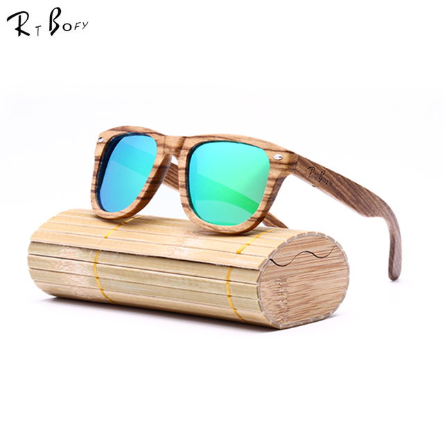 RTBOFY 2017 New fashion Products Men Women Glass Bamboo Sunglasses au Retro Vintage Wood Lens Wooden Frame Handmade. RB001