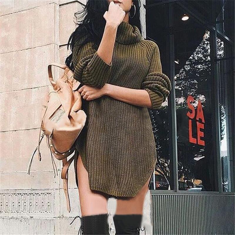 Women Long Sleeve Dresses Sexy Women Knitwear Sweater Dress Pullovers Split Solid Mini Dress LJ5780E
