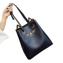 2017 Pu-leder Frauen Handtaschen Fashion Designer Verursachende Bolsas Mujer einkaufen cat kopftrage taschen sac ein haupt umhängetaschen Q107
