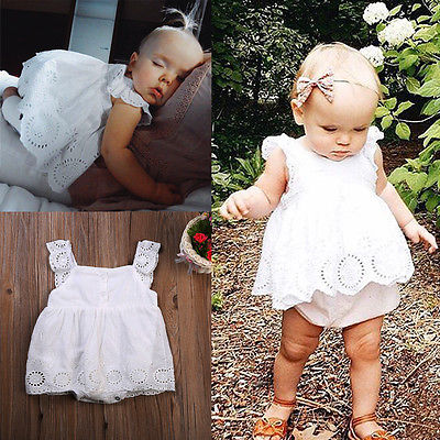 Baby Girl Romper Jumpsuit Sleeveless Cute White Cotton Clothes Outfits Newborn Baby Kids Girls Infant Clothing Tops Mother & Kids