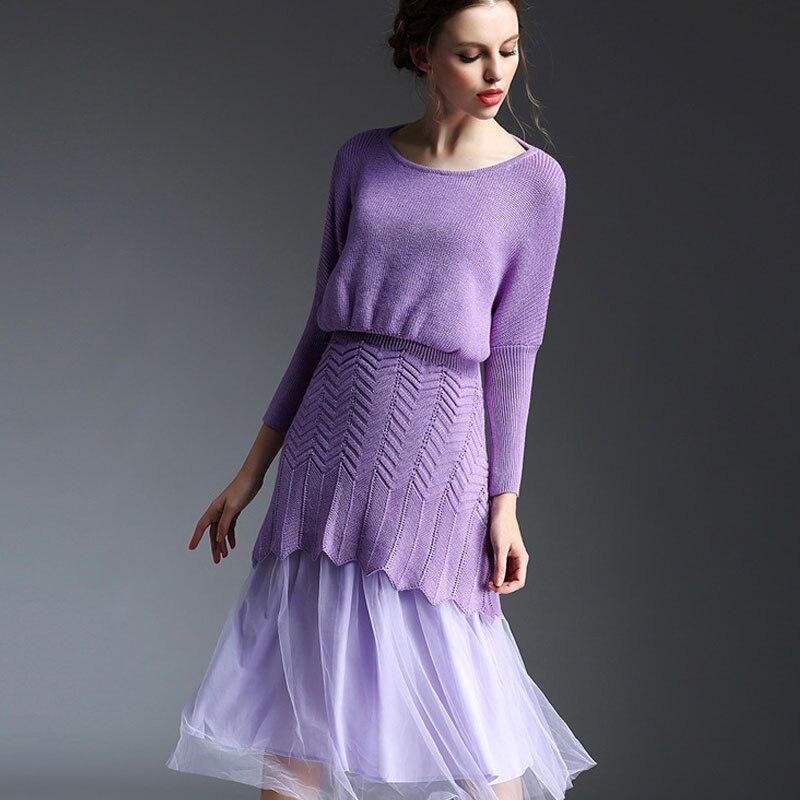 Femmes violet dentelle 2 pièce robe en mousseline de soie à tricoter pleine bourgeon mignon au-dessus du genou mini robe automne hiver tricoté robe CJ0002YH0030