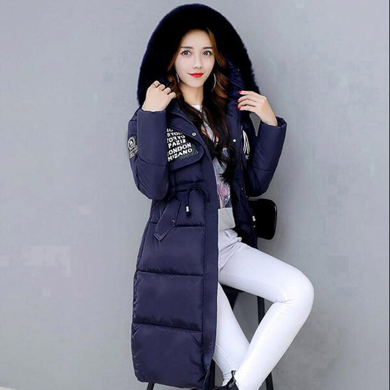 Winter Long Hooded Women Cotton Coat Outerwear Faux Fur Collar Jacket Female Warm Wadded Thick Casual Parkas Cotton Coats PW1018 jolintsai winter coat jacket women warm fur hooded woman parkas winter overcoat casual long cotton wadded lady coats
