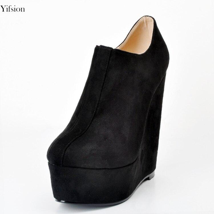Elegantes Oficina Del Black Cm Cuñas 15 Zapatos Redondo 15 D0101 Dedo Pie Sexy Partido Tamaño Yifsion Negro Mujeres Bombas Nuevas 4 Más Altos Tacones Ee uu vqw40azw
