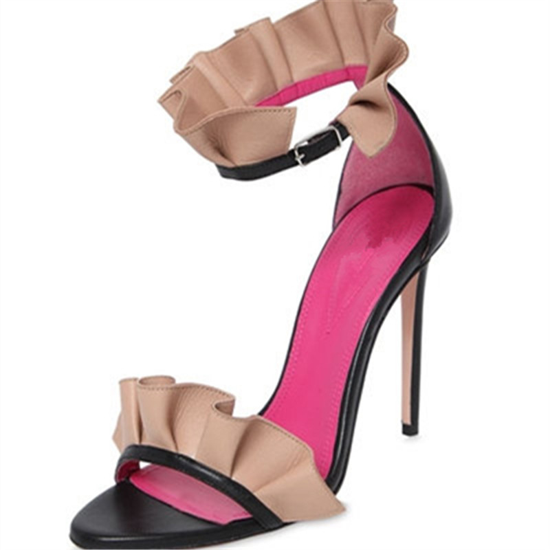 ФОТО Pleated Mixed Colors Thin Heels Ruffles Fashion Party Summer Shoes Woman Super High Heels Buckle Strap Designer Sandals Women