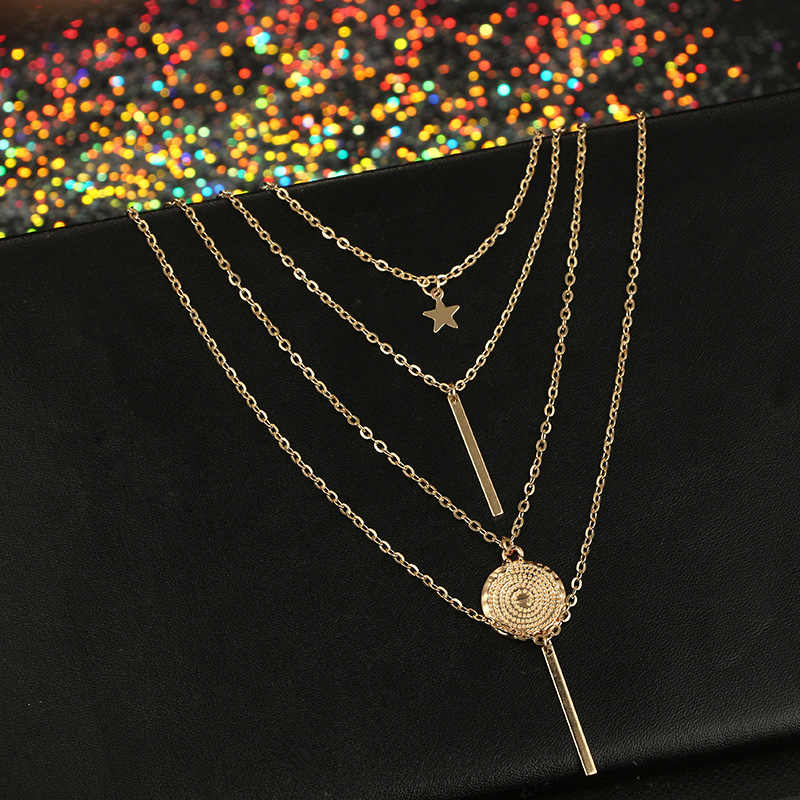 NK152 New Vintage 2019 Boho Multilayer Pendant Necklace for Women Gold Star Coin Metal Necklace Tribal Silver Necklace Collar