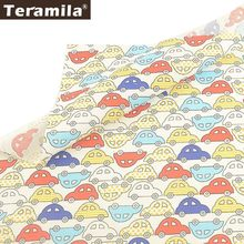 Teramila 100% Cotton Fabric Car Pattern Fat Quarters For Kid Child DIY Patchwork Bed Sheet Home Textile Cloth Sewing Tecido Tela(China)