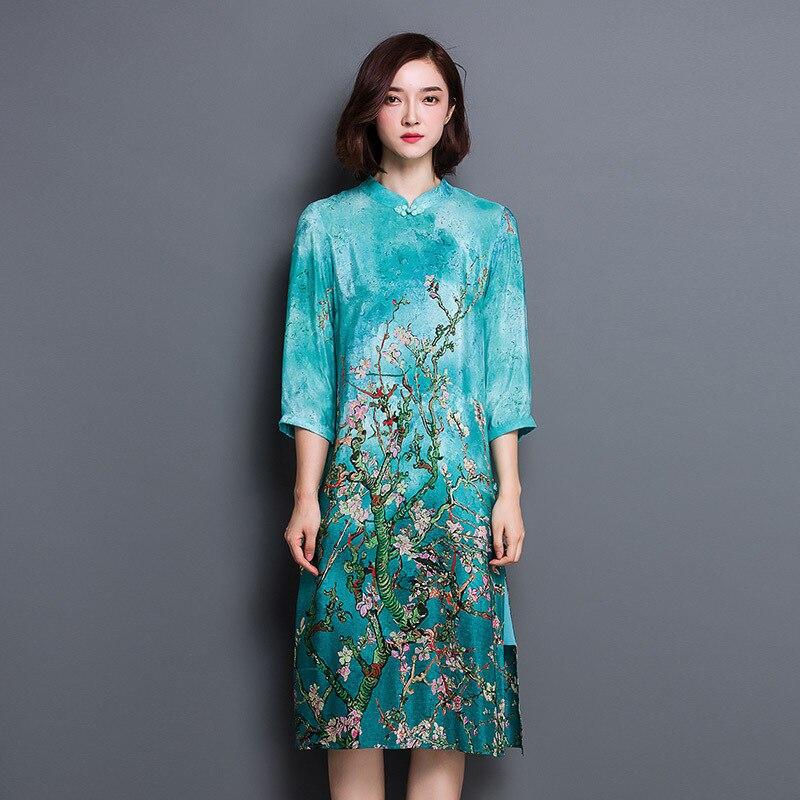 d9b031aac583e Plum Flowers Maxi Dress Women Summer 2016 Silk Cheongsam Dress Plus ...