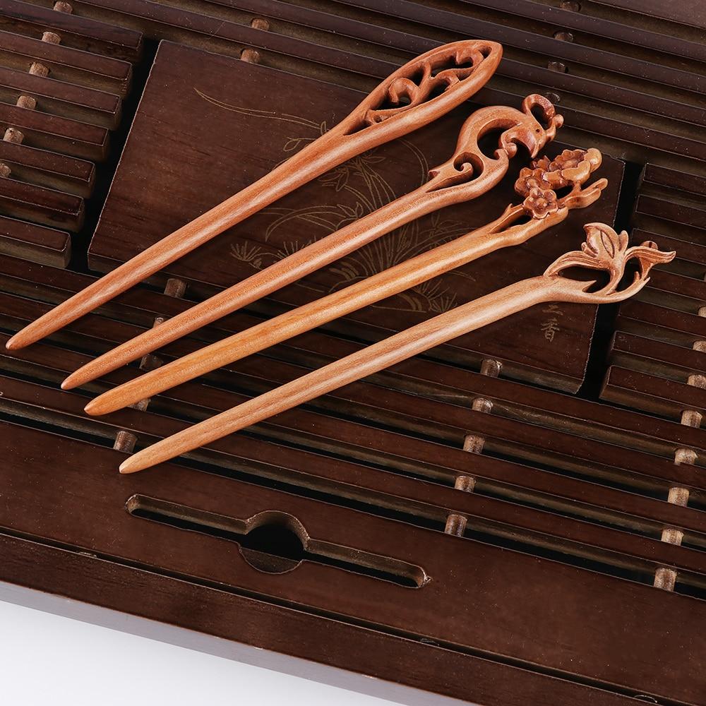1Pc Carved Black Wooden Sandalwood Hair Pin Stick Original Retro Women Lady RS