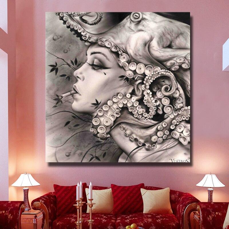 Абстрактные настенные художественные изображения расписанные вручную Масляные картины на холсте для девочек, настенные художественные ка... - 2