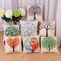 7 Kind Flax Life Tree Pillow Sofa Cushion Modern Simplicity Car Cushion Office Pillow with PP Cotton 45 X 45cm Hot Sale