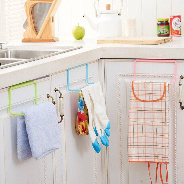 New Bathroom Kitchen Towel Rack Cabinet Door Back Hanging Towel Shelf Holder  Rag Brush Organizer Kitchen