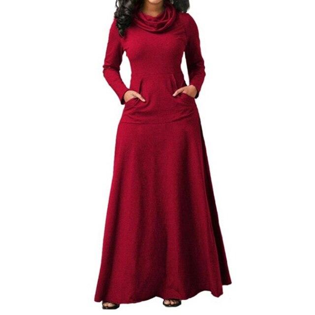 Women Long Sleeve Dress Large Size Elegant Long Maxi Dress Autumn Warm Turtleneck Woman Clothing With Pocket Plus Size Bigsweety 2
